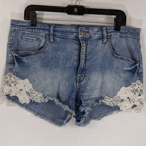 MOSSIMO High Waist Denim Jean Shorts with Lace 18